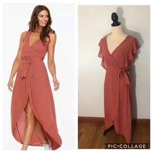 Japna Dusty Rose Wrap Boho Maxi Dress